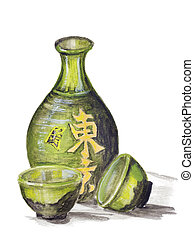 Japanese rice wine - Sake concept. Clay bottle and cups for ...