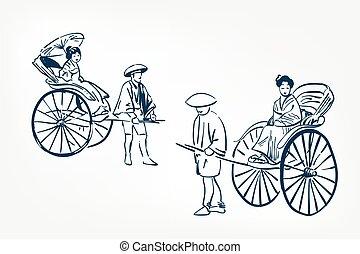 japanese rickshaw traditional sketch vector illustration ink design elements