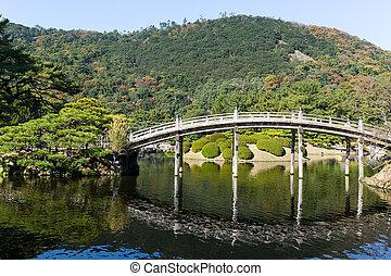 Japanese Ritsurin Garden and wooden bridge