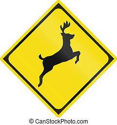 Japanese road sign - Animals crossing (Deer)