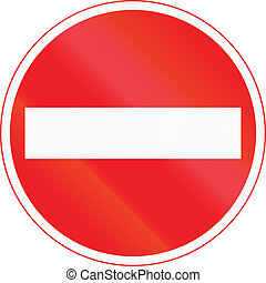 Japanese road sign - No Entry for Vehicles