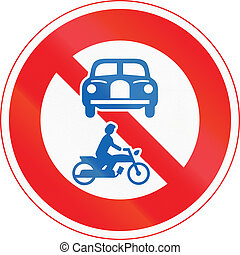 Japanese road sign - No Thoroughfare for motor vehicles