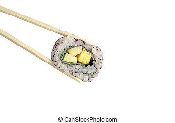 Japanese roll in chopsticks