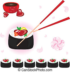 Japanese rolls with sauce and chopsticks. Illustration on...