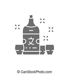 Japanese sake, alcohol gray icon. Isolated on white background