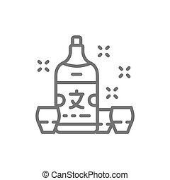 Japanese sake, alcohol line icon.