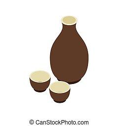 Japanese Sake icon, isometric 3d style