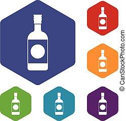 Japanese sake icons set
