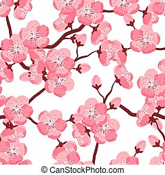 Japanese sakura seamless pattern with stylized flowers....