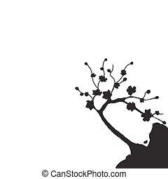 Japanese Sakura. Silhouette of cherry tree on a cliff. Isolated on white background. illustration