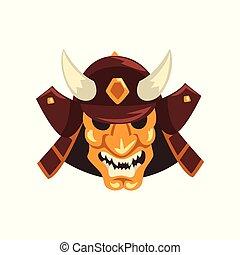 Japanese Samurai awesome mask and helmet vector Illustration...