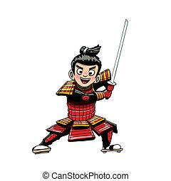 Japanese samurai warior cartoon illustration - An...