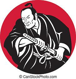 Japanese Samurai warrior drawing sword - illustration of a...