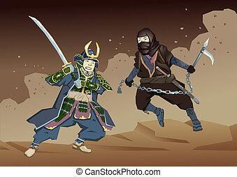 Japanese Samurai Warrior fighting with Ninja on dusty sandy background. Vector illustration. Flat style.