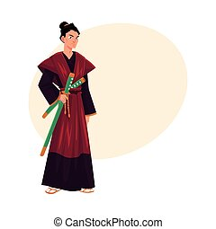 Japanese samurai, warrior in traditional kimono with katana swords