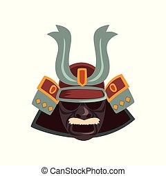 Japanese Samurai warrior mask vector Illustration on a white background
