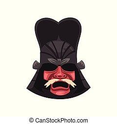 Japanese Samurai warrior war mask vector Illustration on a white background