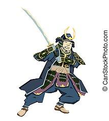 Japanese Samurai Warrior with katana sward in fighting position. Vector illustration. Flat style, isolated on white background.