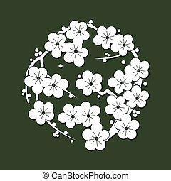 Japanese sashiko motif sakura. asian pattern. Abstract...