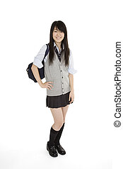 Japanese Schoolgirl - Portrait of a female Asian teenager...
