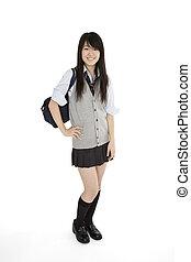 Japanese Schoolgirl - Portrait of a female Asian teenager...
