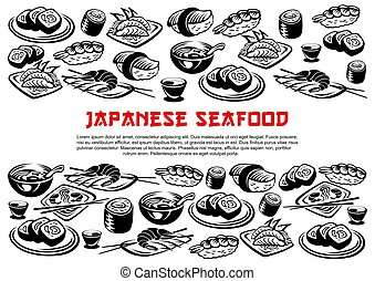 Japanese seafood poster of vector rolls and sushi - Japanese...