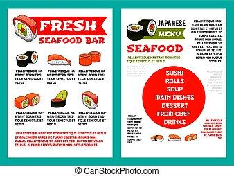 Japanese seafood restaurant, sushi bar menu design