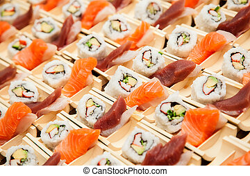 Japanese seafood sushi, ready to be served