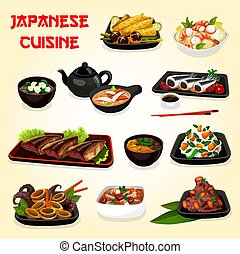 Japanese seafood, veggies dishes with asian sauces -...