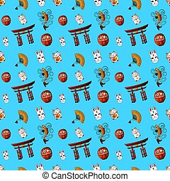 Japanese Seamless VECTOR Pattern, on Cat Kanji Means Cat, on...