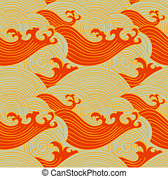 Japanese seamless waves pattern in fire colors