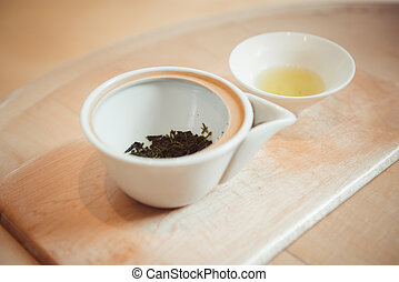 Japanese Sencha Tea Leaves. Top view with copy space