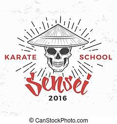 Japanese sensei skull Logo. Samurai master insignia design. Vintage ninja mascot badge. Martial art Team t-shirt illustration concept on grunge background