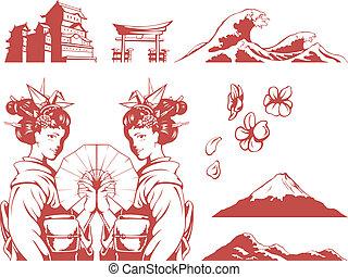 Japanese Set-Girl in Kimono, Sakura - A vector set of...