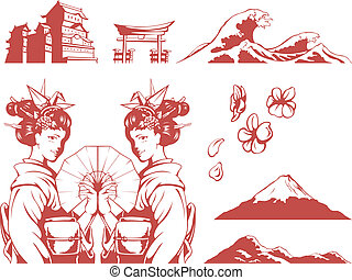 Japanese Set-Girl in Kimono, Sakura - A vector set of...