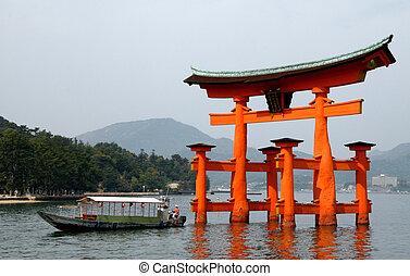 Japanese Shinto Gate - Boat drives through Shinto gate/Torii...