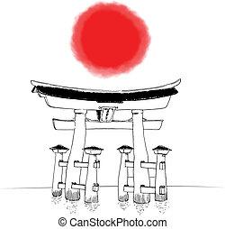 Japanese Shinto Gate - Hand drawn illustration of Japanese...