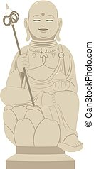 Japanese Shinto Statue - Grey stone Japanese Shinto religion...