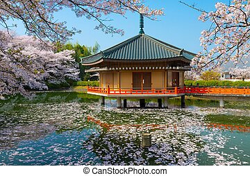 Japanese Shinto temple at spring