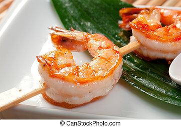 Japanese skewered Jumbo Shrimp .closeup