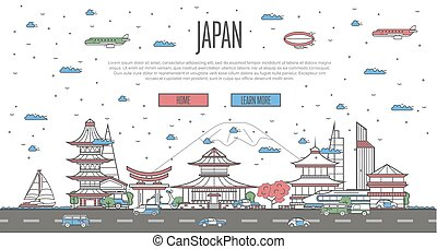 Japanese skyline with national famous landmarks