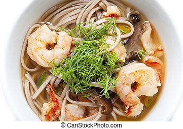 Japanese soup with shrimp and pasta