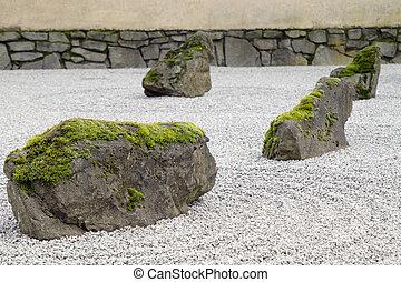 Japanese Stone and Sand Garden Closeup