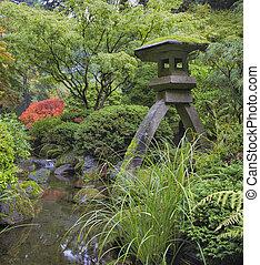 Japanese Stone Lantern by Water Stream - Japanese Stone...