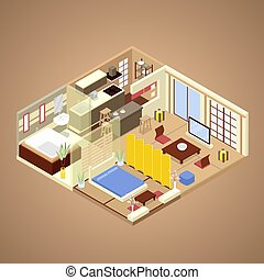 Japanese Style Apartment Interior Design with Kitchen, Bedroom and Bathroom. Isometric vector flat 3d illustration