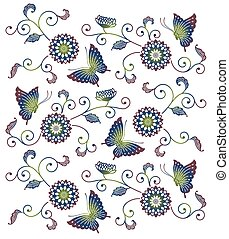 Japanese style blue green purple floral pattern with butterflies