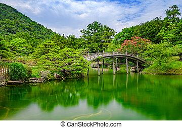 Japanese style bridge in garden