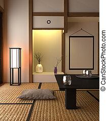 Japanese style interior design - living room. 3D rendering