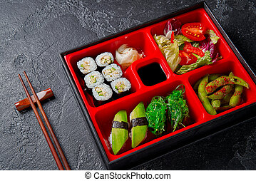 Japanese style lunch bento box with various vegeterian ...