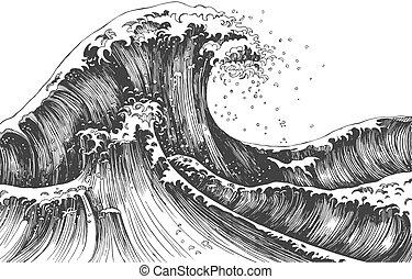 Japanese style ocean or sea waves